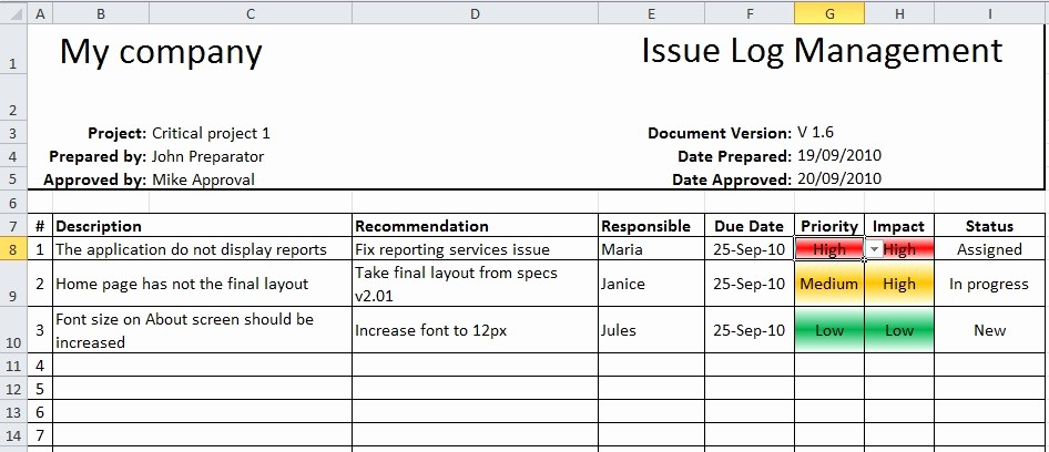 Issues List Template Excel Free New April 2011