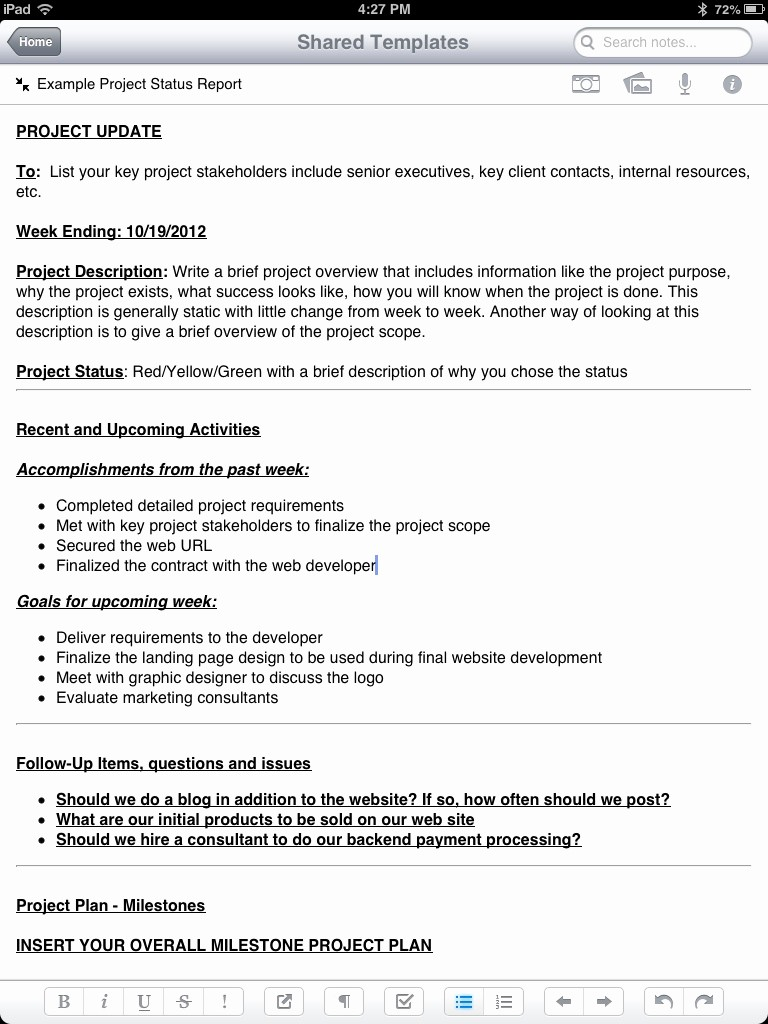 It Project Status Report Template Lovely New Evernote Project Status Report Template