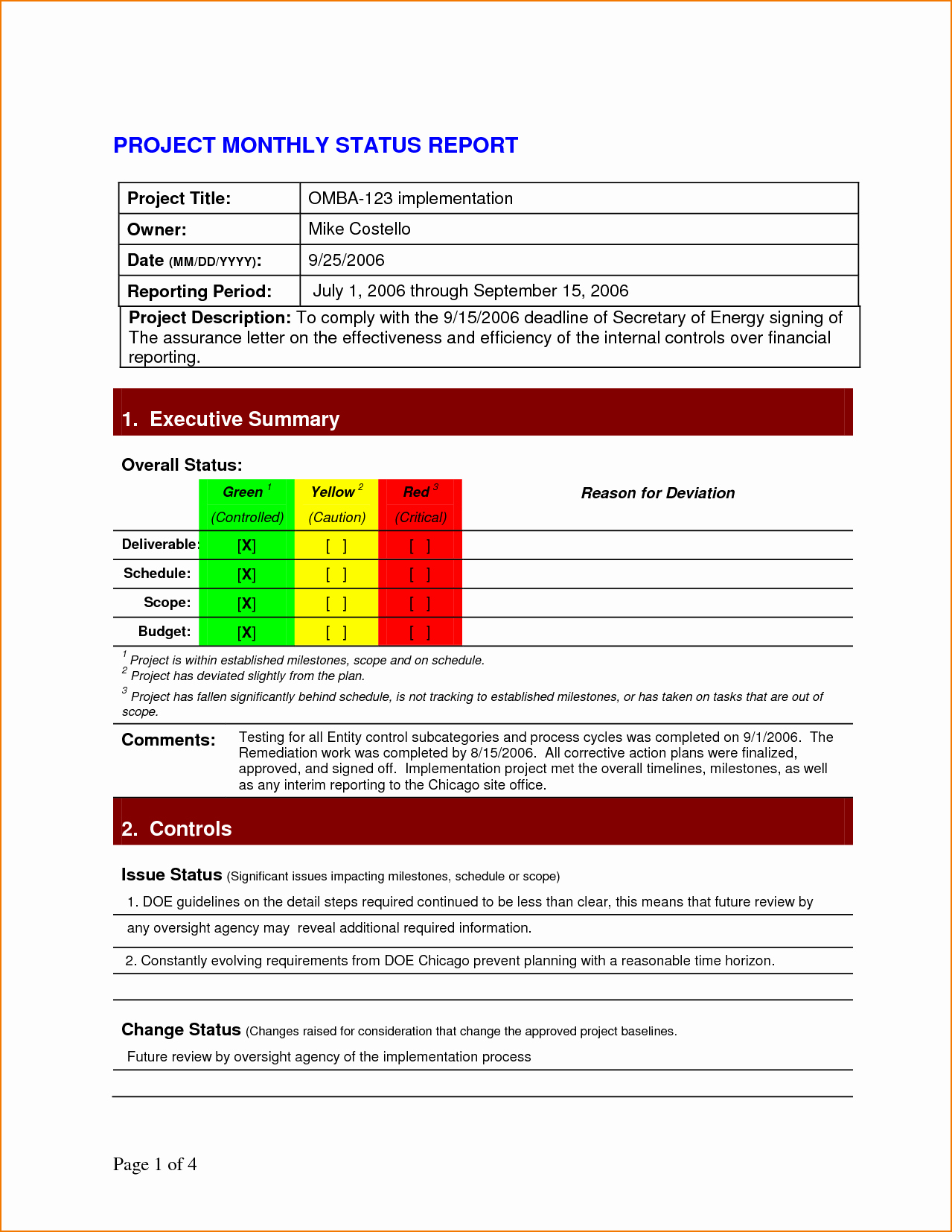 It Project Status Report Template New 5 Project Status Report Template