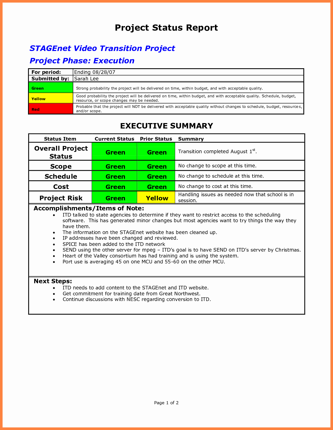 It Project Status Report Template Unique 10 Progress Report Template for Projects