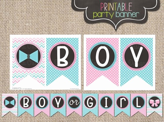 It's A Boy Banner Printable Awesome Printable Gender Reveal Party Banner by Inkobsessiondesigns