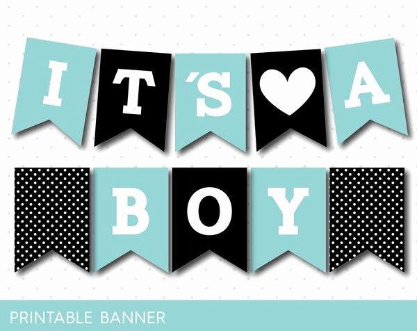 It's A Boy Banner Printable Beautiful Black and Mint Blue Baby Boy Banner Pb 53 – Js Digital Paper