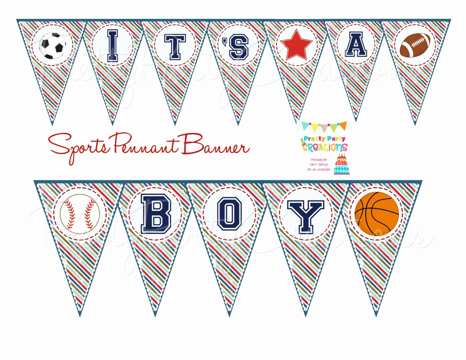 It's A Boy Banner Printable Elegant Sports Pennant Banner Baby Shower or Birthday You Print