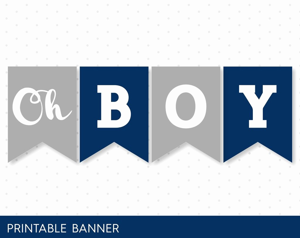 It's A Boy Banner Printable Inspirational It´s A Boy Baby Shower Banner In Navy Blue and Grey Pb 59