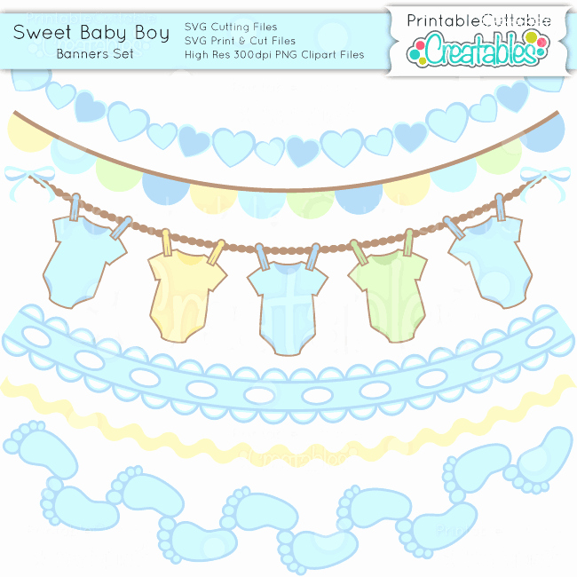 It's A Boy Banner Printable Inspirational Sweet Baby Boy Scrap Kit Svgs Clipart & Digital Paper