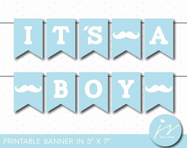 It's A Boy Banner Printable Luxury Baby Blue Little Man Printable Banner Mustache Baby