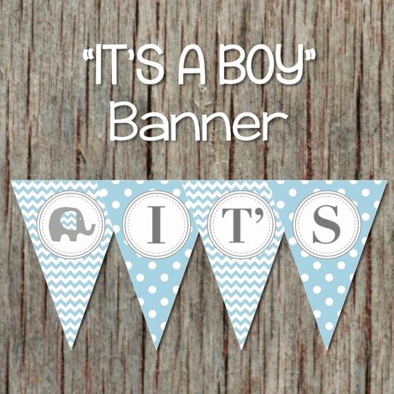 It's A Boy Banner Printable New Elephant It S A Boy Baby Shower Printable Banner Powder