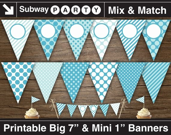 It's A Boy Banner Printable New Printable Boy Baby Shower Banner & Mini Cake Bunting Aqua