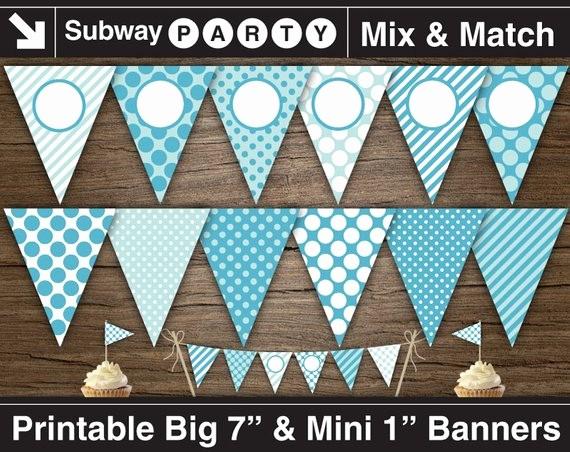 It's A Boy Banner Printable New Printable Boy Baby Shower Banner & Mini Cake Bunting Aqua