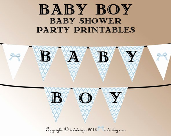It's A Boy Banner Printable Unique Baby Shower Party Printables Instant Download Damask Baby Boy