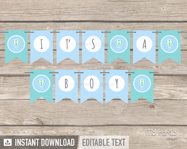 It's A Boy Banner Printable Unique Hot Air Balloon Boy Baby Shower Printable Banner My