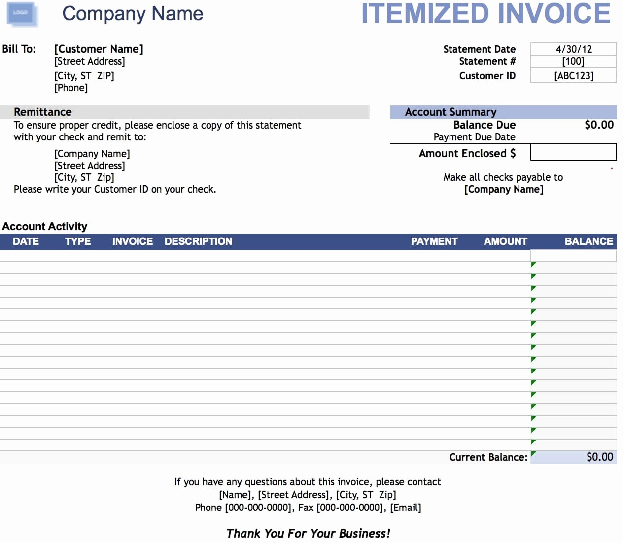 Itemized Bill Template Microsoft Word Lovely Free Itemized Invoice Template Excel Pdf