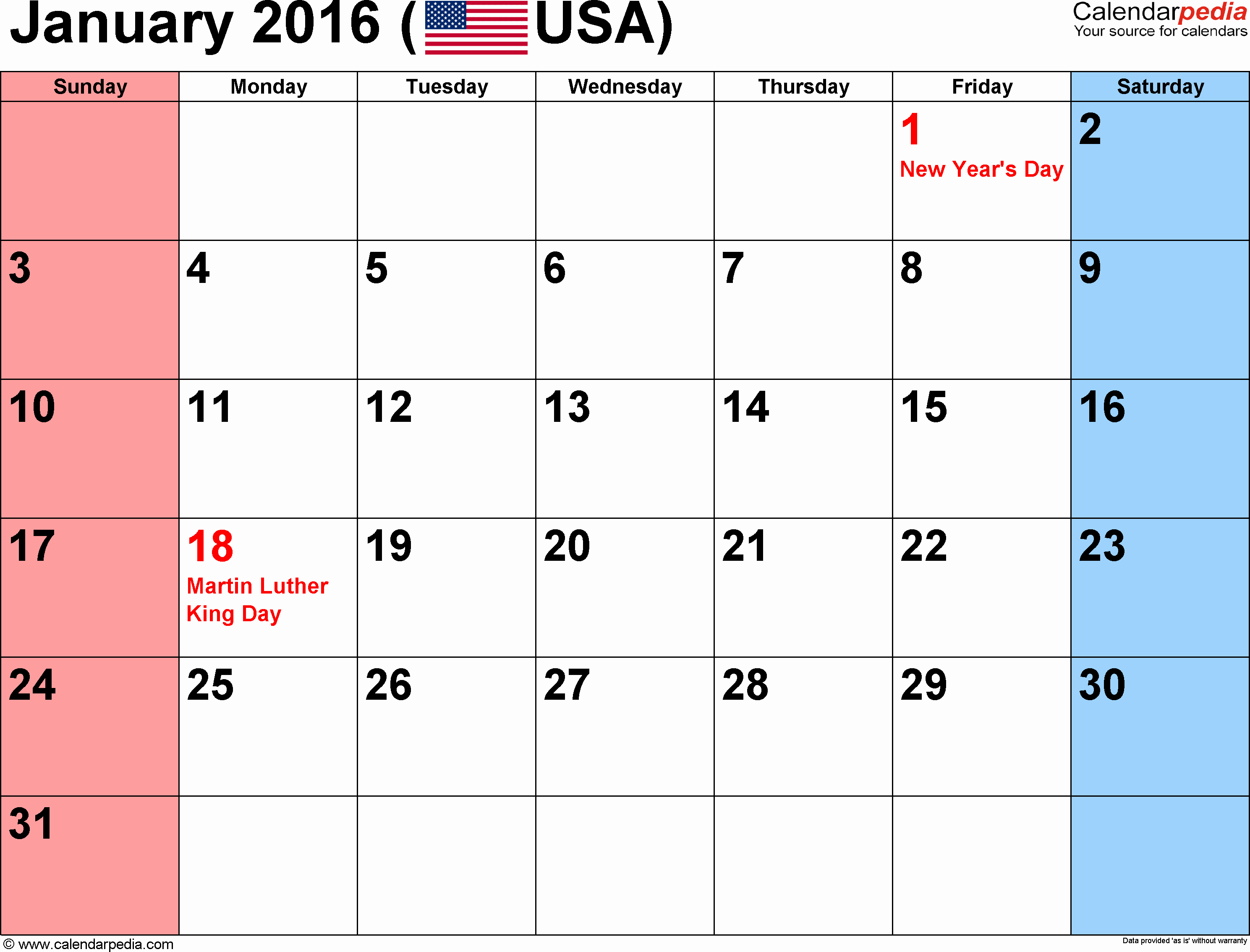 January 2016 Calendar Template Word Awesome January 2016 Calendars for Word Excel & Pdf