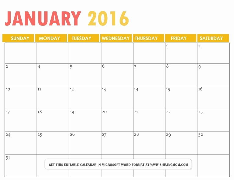 January 2016 Calendar Template Word Beautiful 2016 Calendar Word Editable