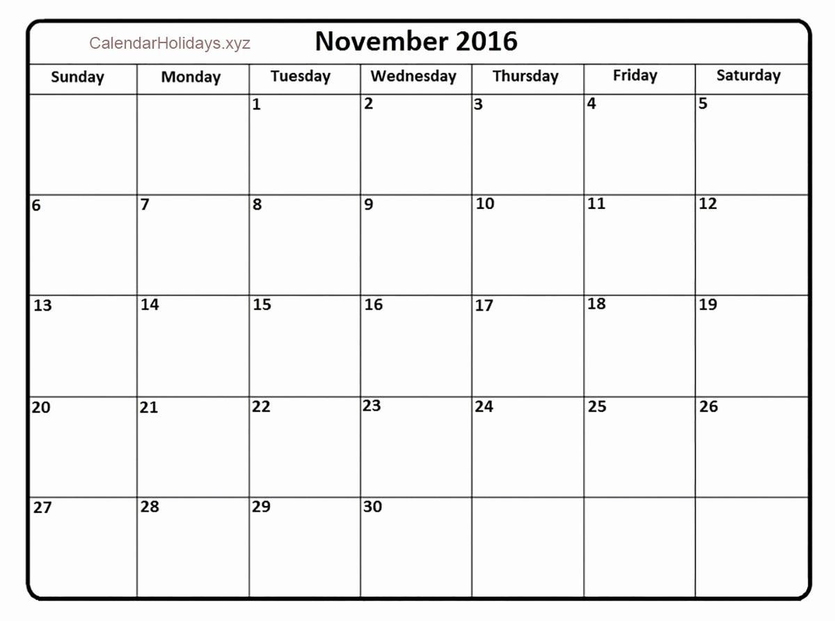 January 2016 Calendar Template Word Beautiful November 2016 Word Calendar Wordcalendar Calendartemplates