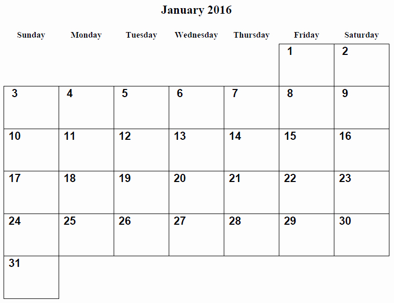 January 2016 Calendar Template Word Best Of 8 Best Of January 2016 Calendar Printable