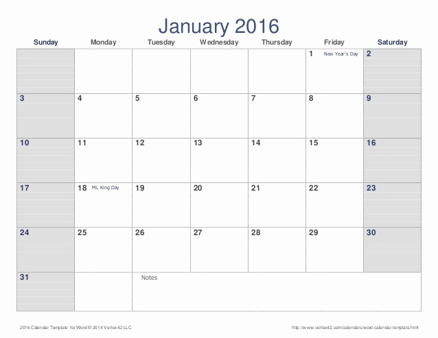 January 2016 Calendar Template Word Luxury Calendar 2016
