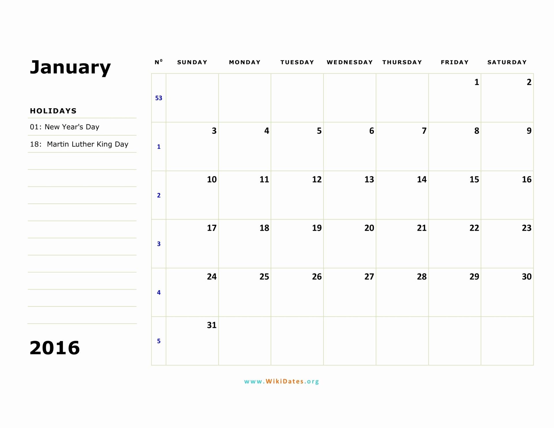 January 2016 Calendar Template Word New January 2016 Calendar