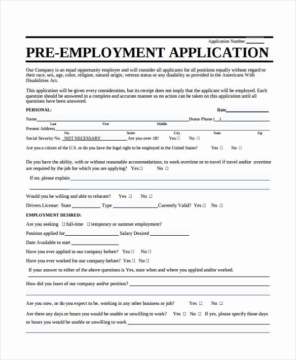 Job Application form Sample format Awesome 8 Employment Application Sample forms Free Example