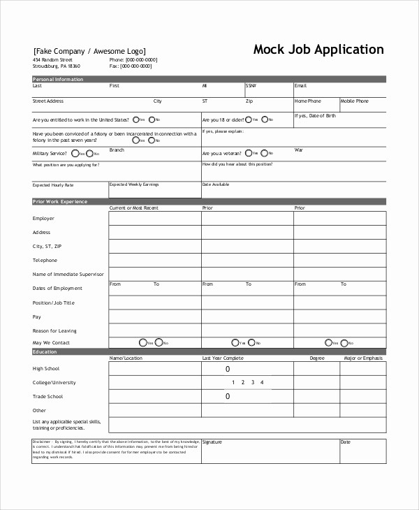 Job Application form Sample format Awesome 8 Sample Job Application forms