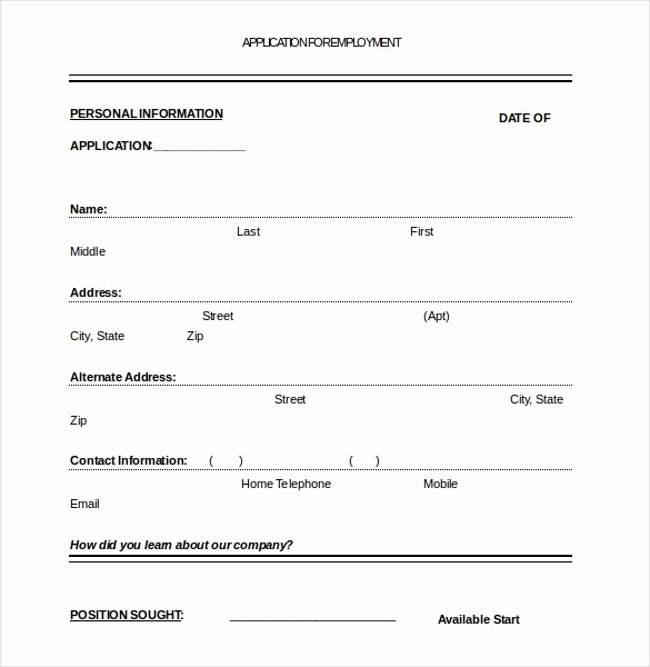Job Application form Sample format Best Of Job Application Template – 10 Free Word Pdf Documents