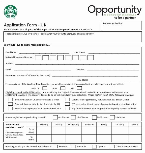 Job Application form Sample format Elegant 10 Restaurant Application Templates – Free Sample