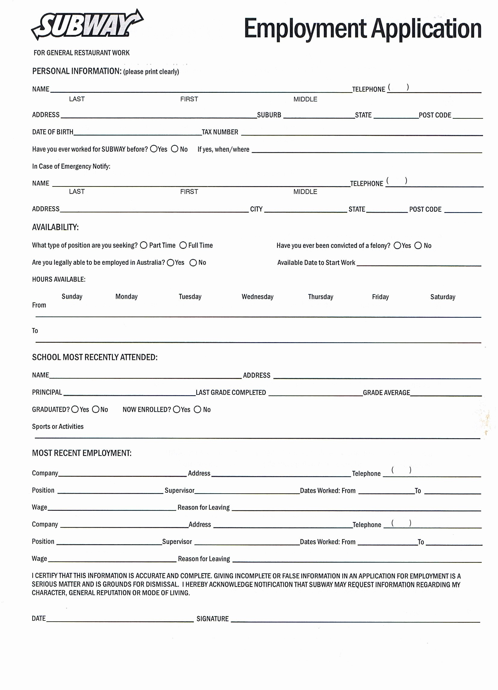 Job Application form Sample format Fresh Printable Job Application forms Online forms Download and