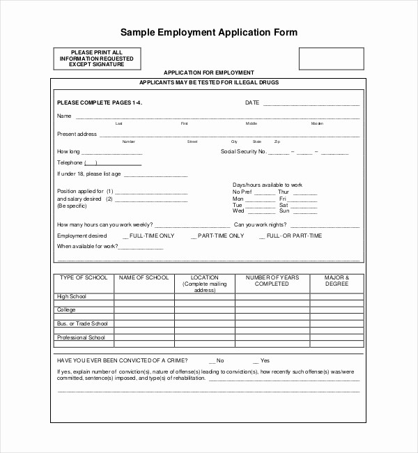 Job Application form Sample format Inspirational Sample Employment Application forms 12 Free Documents