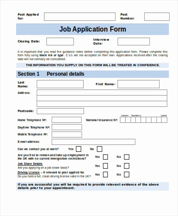 Job Application form Sample format New 35 Free Job Application form Template