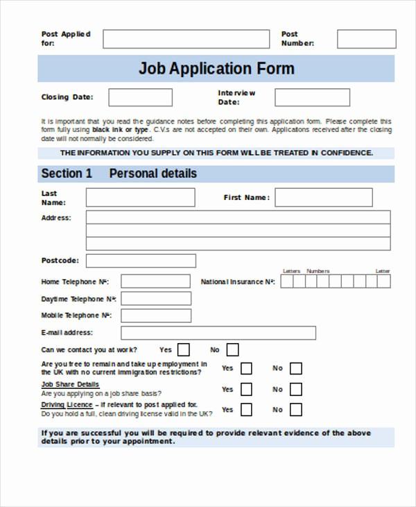 Job Application form Sample format New 35 Free Job Application form Template