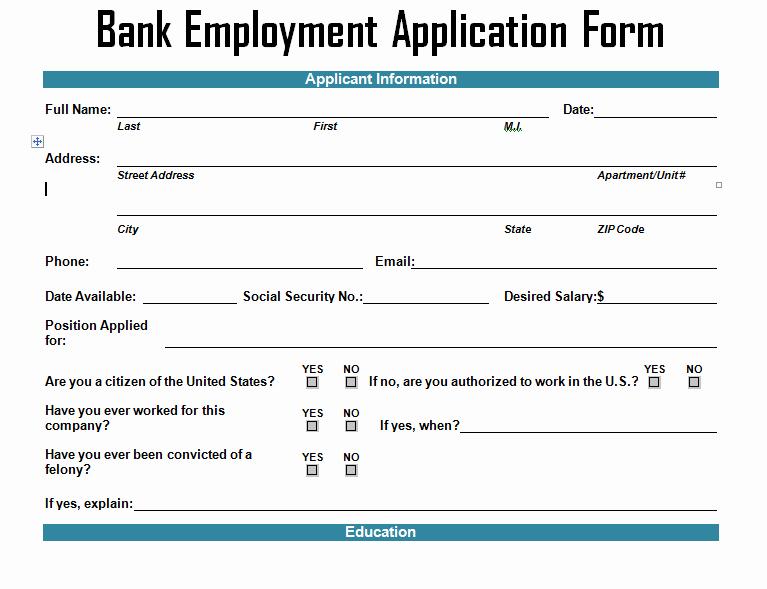 Job Application form Sample format Unique Bank Employment Application form Template Project