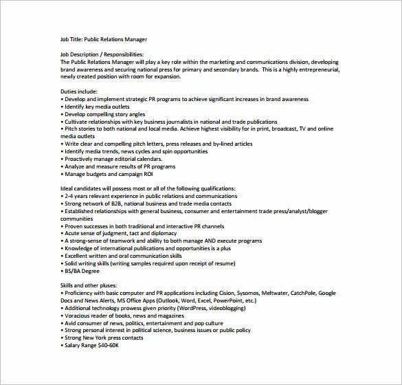 Job Description Templates Free Download Beautiful 9 Public Relation Job Description Templates Free Sample