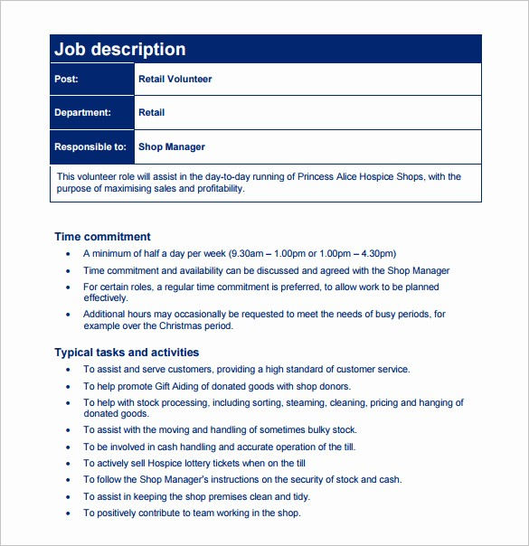 Job Description Templates Free Download Best Of Customer Service Job Description Templates 15 Free