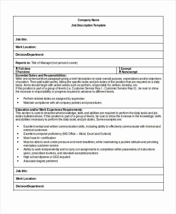 Job Description Templates Free Download Elegant Sample Job Description Template 22 Free Documents