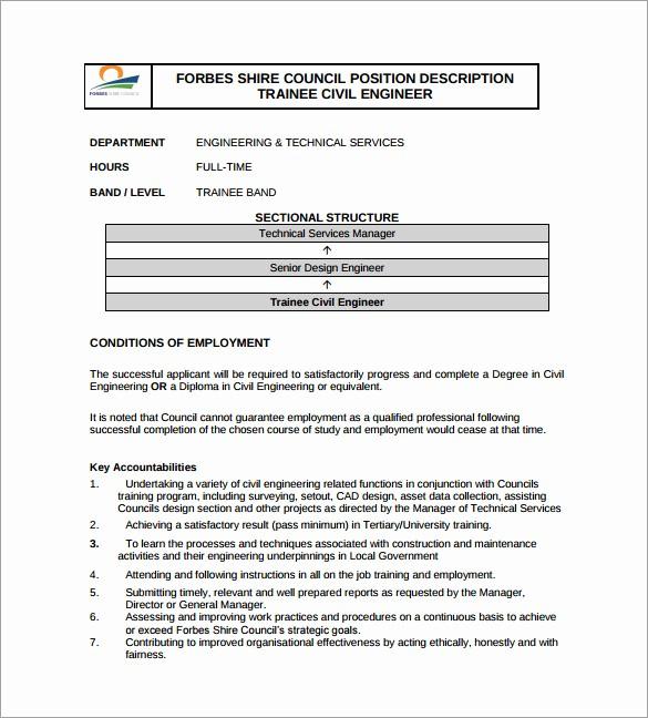 Job Description Templates Free Download Inspirational 10 Civil Engineer Job Description Templates Free Sample
