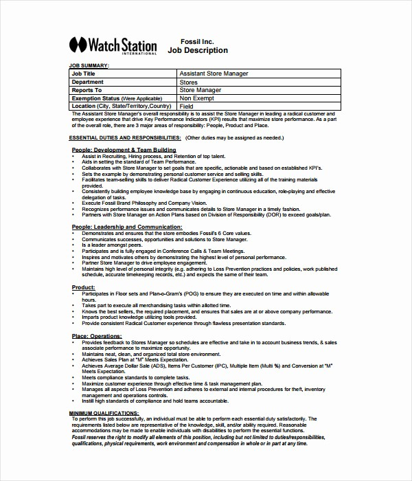 Job Description Templates Free Download Lovely 21 Job Description Templates Free Word Pdf Documents