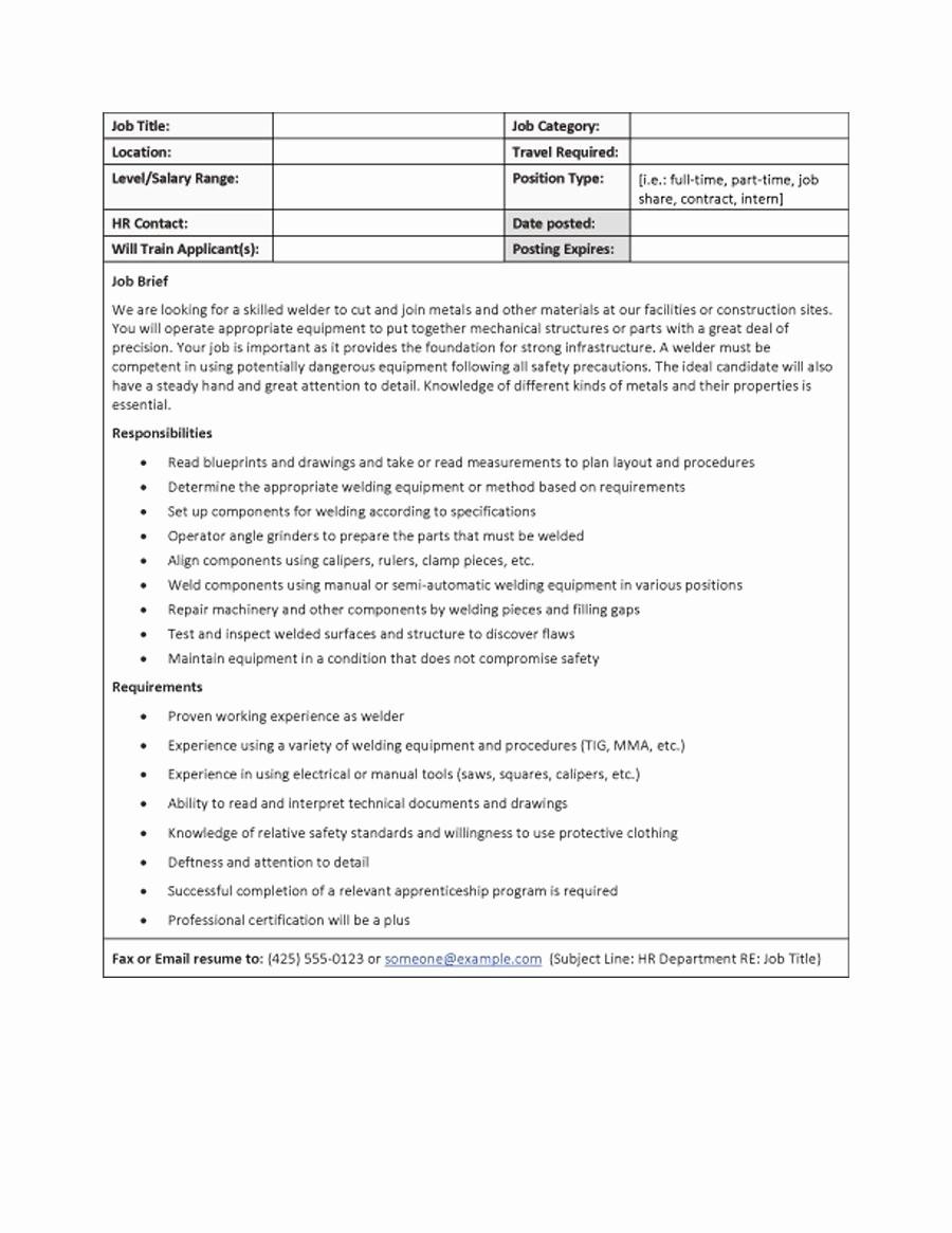 Job Description Templates Free Download Lovely 49 Free Job Description Templates & Examples Free