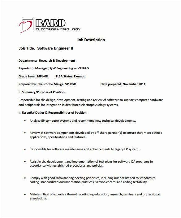 Job Description Templates Free Download Luxury 14 software Engineer Job Description Templates Free