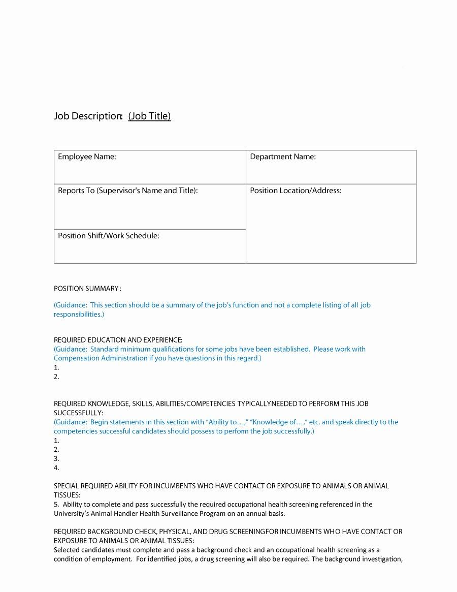 Job Description Templates Free Download Luxury 49 Free Job Description Templates & Examples Free