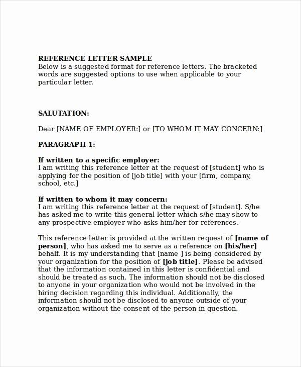 Job Recommendation Letter Sample Template Awesome 13 Employment Reference Letter Templates Free Sample