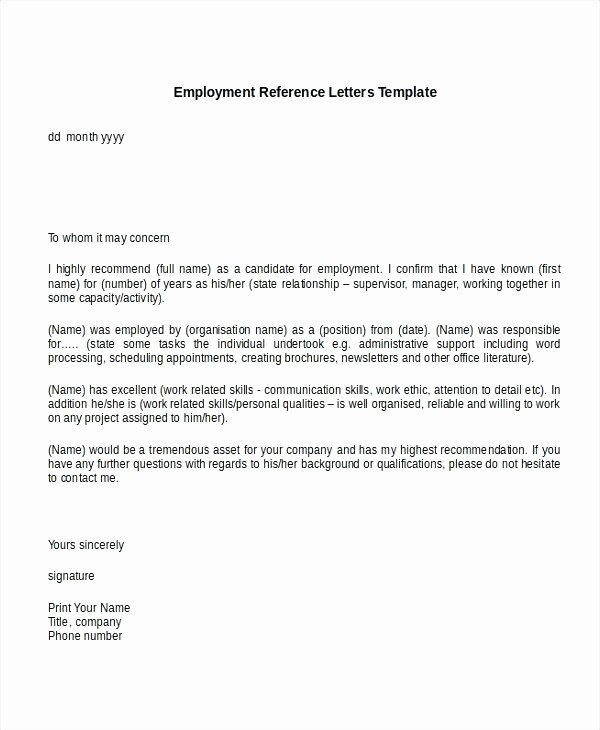 Job Recommendation Letter Sample Template Fresh Re Mendation Letter Template Job Copy Example Reference