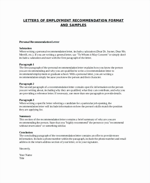 Job Recommendation Letter Sample Template Lovely Re Mendation Letter Template Job Copy Example Reference