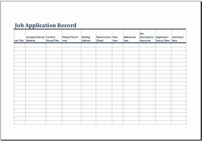 Job Search Log Template Excel Elegant Printable Job Application Log Template Ms Excel