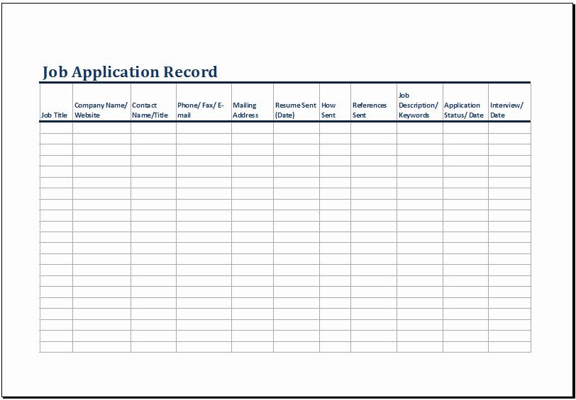 Job Search Log Template Excel Elegant Printable Job Application Log Template Ms Excel
