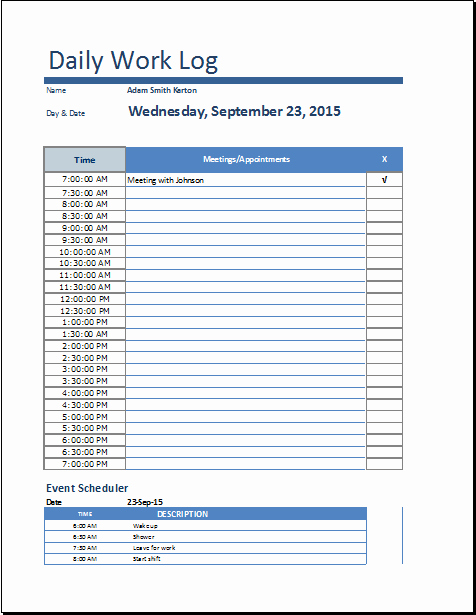 Job Search Log Template Excel Inspirational 8 Daily Work Log Templates Word Excel Pdf formats
