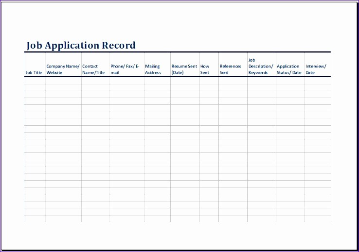 Job Search Log Template Excel Inspirational 8 Job Application Log Exceltemplates Exceltemplates