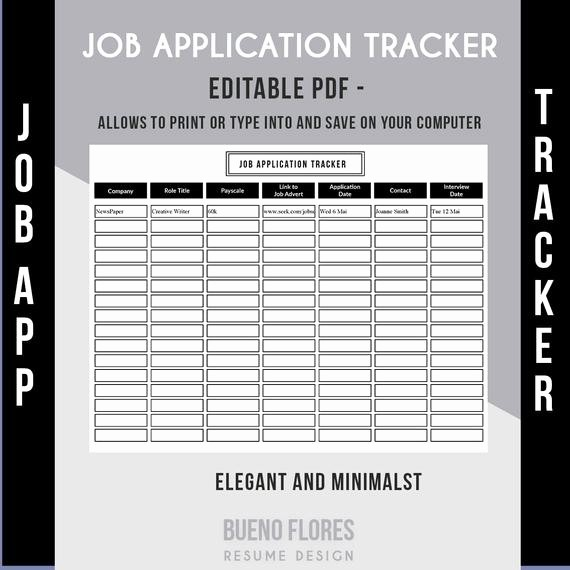 Job Search Log Template Excel Lovely Job Application Tracker Job Application Log Editable