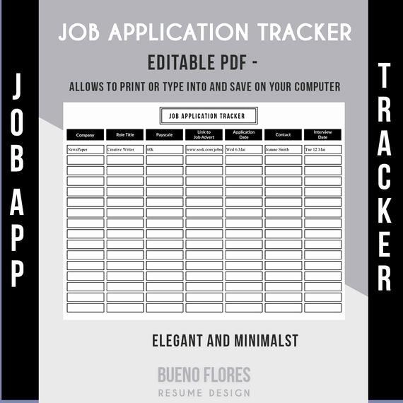 Job Search Log Template Excel Lovely Job Application Tracker Job Application Log Editable