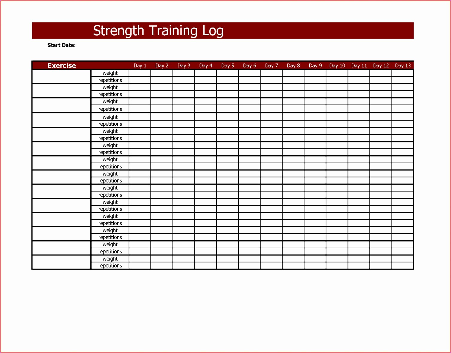 Job Search Log Template Excel New 6 Workout Log Template Excel Exceltemplates Exceltemplates