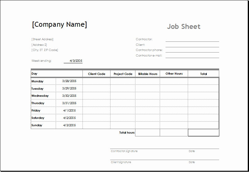 Job Search Log Template Excel New Sample Job Sheet Template for Ms Excel